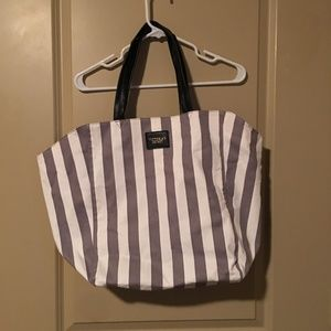Grey and White Striped Tote